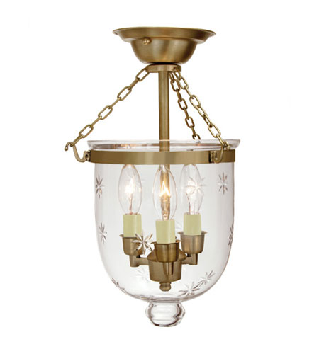 JVI Designs Bell Jar 3 Light Small Semi-Flush Mount in Rubbed Brass with Star Glass 1016-10 photo