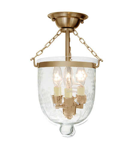 JVI Designs 1017-10 Bell Jar 3 Light 9 inch Rubbed Brass Semi-Flush Mount Ceiling Light photo