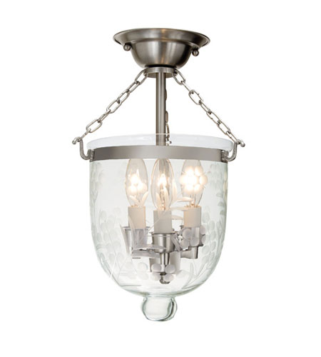 JVI Designs 1017-17 Bell Jar 3 Light 9 inch Pewter Semi-Flush Mount Ceiling Light photo