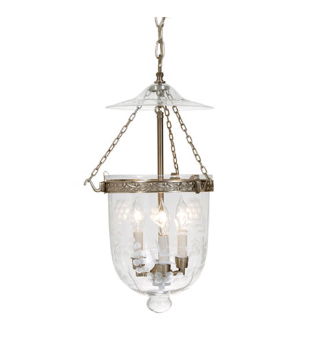 JVI Designs Bell Jar 3 Light Medium Hanging Bell Pendant in Pewter with Flower Glass 1020-17 photo