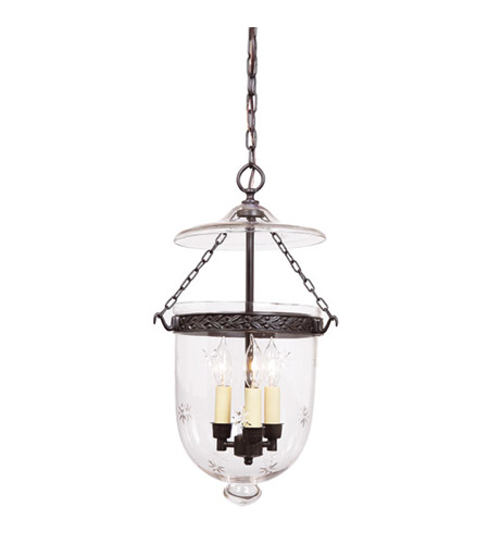 JVI Designs Bell Jar 3 Light Medium Hanging Bell Pendant in Oil Rubbed Bronze with Star Glass 1022-08 photo
