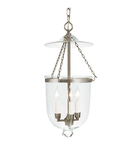 JVI Designs Bell Jar 3 Light Medium Hanging Bell Pendant in Pewter with Clear Glass 1023-17 photo