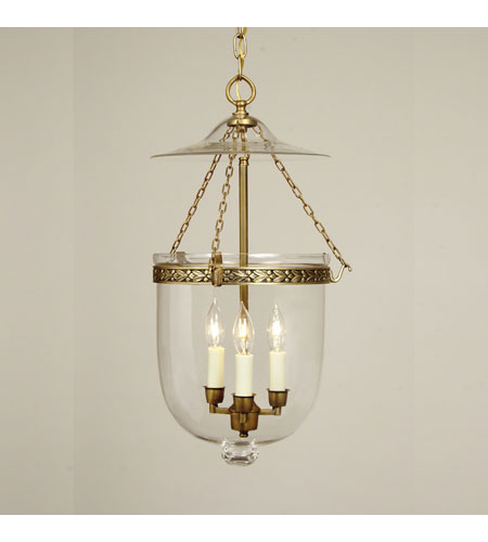 JVI Designs Bell Jar 3 Light Hanging Bell Pendant in Antique Brass 1026-05 photo