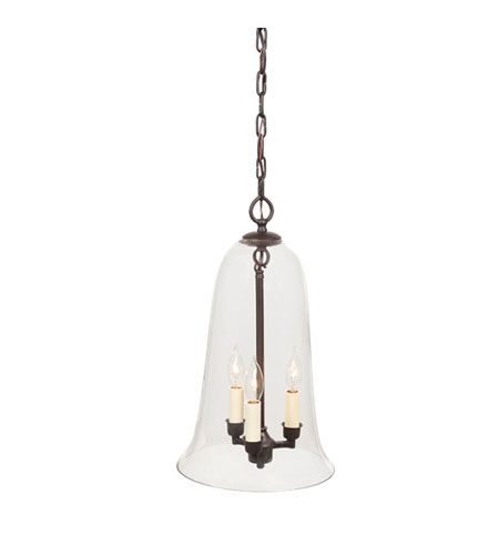 JVI Designs Bell Jar 3 Light Large Hanging Bell Pendant in Oil Rubbed Bronze with Clear Glass 1037-08 photo