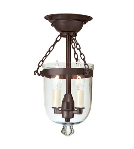 JVI Designs Bell Jar 2 Light Semi-Flush Mount in Oil Rubbed Bronze 1047-08 photo