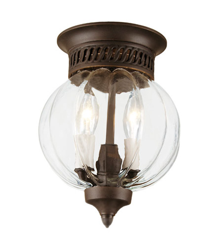 JVI Designs Melon Jar 2 Light Flush Bell Pendant in Oil Rubbed Bronze 1051-08 photo