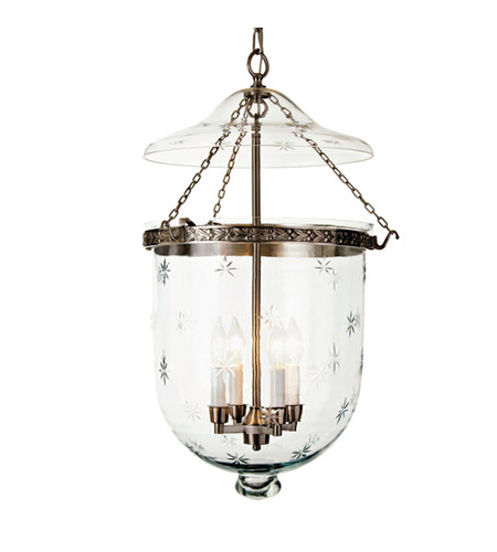 JVI Designs Bell Jar 4 Light Extra Large Hanging Bell Pendant in Pewter with Star Glass 1058-17 photo