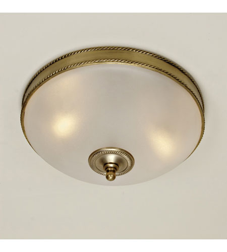 JVI Designs Rope and Arrow 3 Light Flush Mount in Rubbed Brass 1064-10 photo