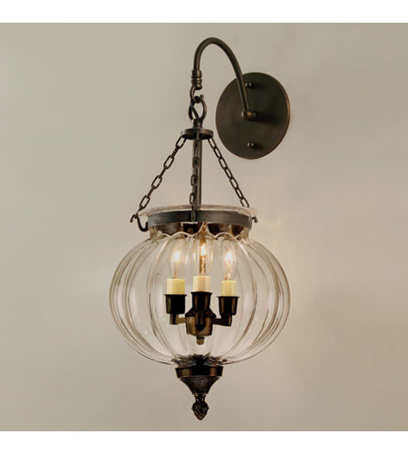 JVI Designs Melon Jar 3 Light Bell Wall Sconce in Oil Rubbed Bronze 1093-08 photo
