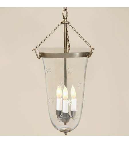 JVI Designs Bell Jar 3 Light Large Hanging Bell Pendant in Pewter with Star Glass 1098-17 photo