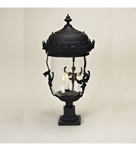 JVI Designs Gryphon 3 Light Outdoor Post Lantern in Matte Black 1114-26 photo