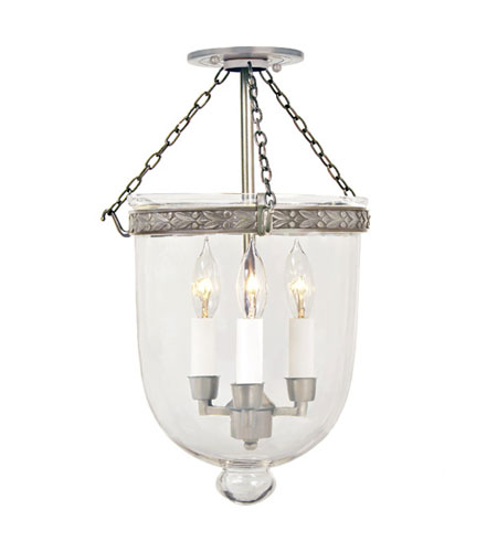 JVI Designs Bell Jar 3 Light Medium Semi-Flush Mount in Pewter with Clear Glass 1150-17 photo