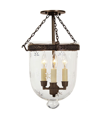 JVI Designs 1151-08 Bell Jar 3 Light 11 inch Oil Rubbed Bronze Semi-Flush Mount Ceiling Light photo