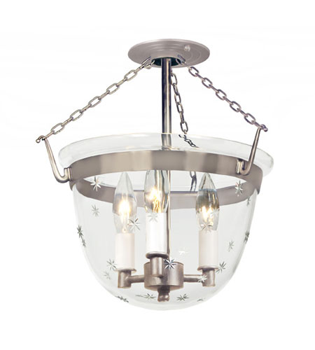 JVI Designs 1154-17 Bell Jar 3 Light 13 inch Pewter Semi-Flush Mount Ceiling Light photo