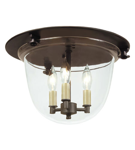 JVI Designs Bell Jar 3 Light Flush Bell Pendant in Oil Rubbed Bronze with Clear Glass 1157-08 photo