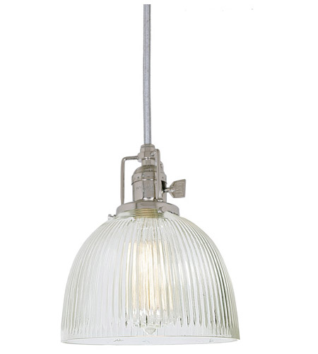 JVI Designs 1200-15-S5-CR Union Square 1 Light 7 inch Polished Nickel Pendant Ceiling Light in Clear Ribbed, S5 photo