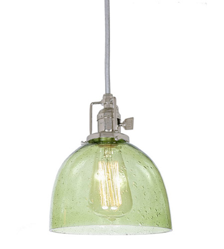 JVI Designs 1200-15-S5-LB Union Square 1 Light 7 inch Polished Nickel Pendant Ceiling Light in Lime Seeded, S5 photo