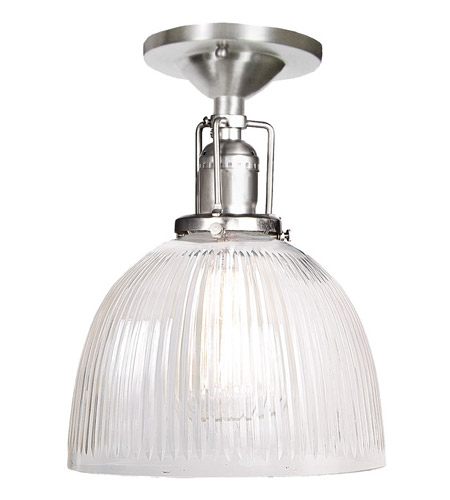 JVI Designs 1202-17-S5-CR Union Square 1 Light 7 inch Pewter Flush Mount Ceiling Light in Clear Ribbed, S5 photo