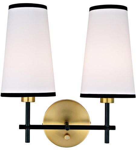 Jvi Designs 1276 10 Bellevue 2 Light 14 Inch Satin Br And Black Wall Sconce