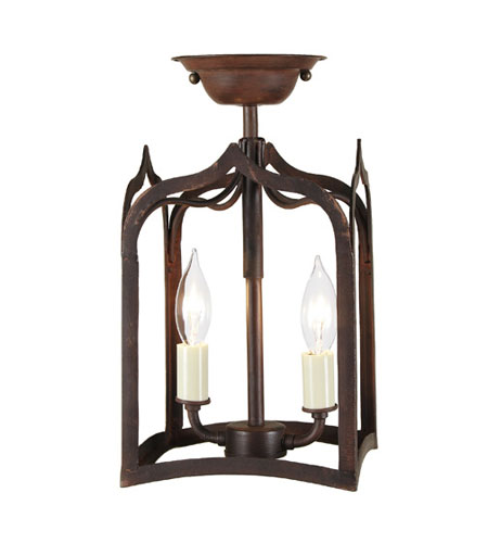 JVI Designs Gothic 2 Light Semi Flush Lantern in Rust 3000-22 photo