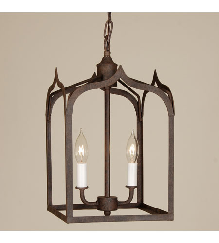 JVI Designs Gothic 2 Light Small Hanging Lantern Pendant in Rust 3004-22 photo