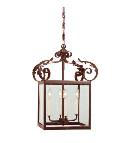 JVI Designs Scroll 4 Light Hanging Lantern Pendant in Rust 3012-22 photo