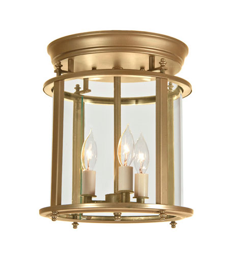 JVI Designs 3018-10 Murray Hill 3 Light 13 inch Rubbed Brass Flush Mount Ceiling Light photo