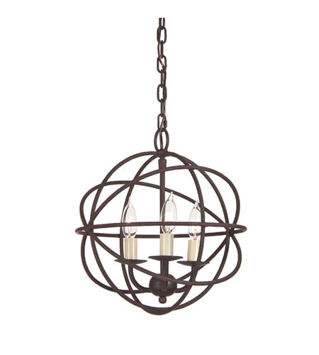 JVI Designs Globe 3 Light Chandelier in Rust 3030-22 photo