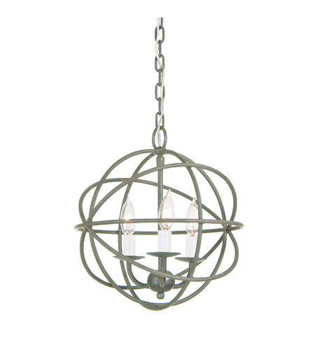 JVI Designs 3030-23 Globe 3 Light 12 inch Aged Silver Chandelier Ceiling Light photo