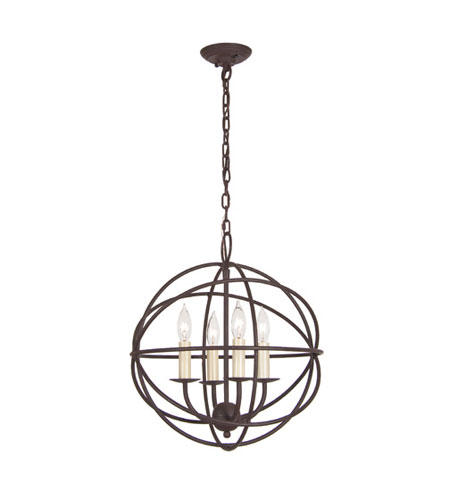 JVI Designs Globe 4 Light Chandelier in Rust 3031-22 photo