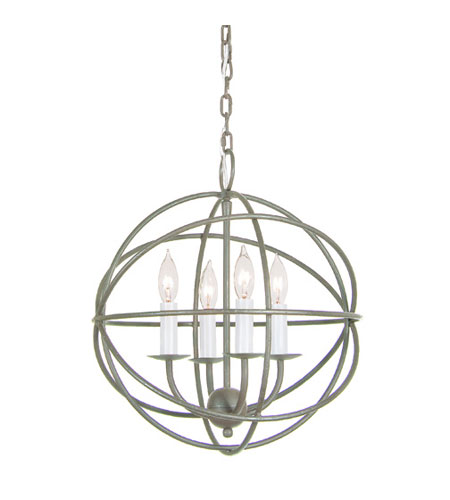 JVI Designs 3031-23 Globe 4 Light 15 inch Aged Silver Chandelier Ceiling Light photo