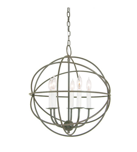 JVI Designs 3032-23 Globe 5 Light 18 inch Aged Silver Chandelier Ceiling Light photo