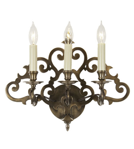 JVI Designs Scroll 3 Light Wall Sconce in Weathered Bronze 345-02 photo