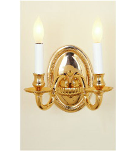 JVI Designs Beaded 2 Light Wall Sconce in Polished Brass 510-01 photo