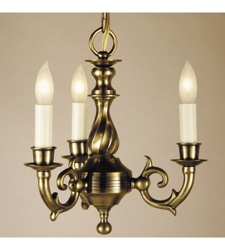 JVI Designs Cast Brass 3 Light Chandelier in Weathered Bronze 912-02 photo