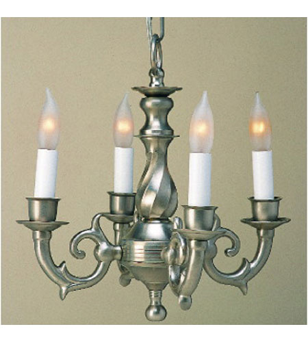 JVI Designs 914-17 Traditional Brass 4 Light 13 inch Pewter Mini Chandelier Ceiling Light photo
