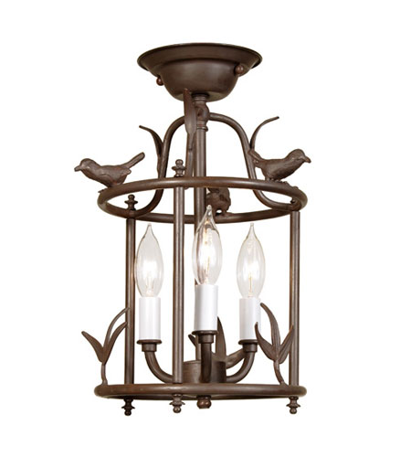 JVI Designs 924-22 Bird 3 Light 9 inch Rust Flush Mount Ceiling Light photo