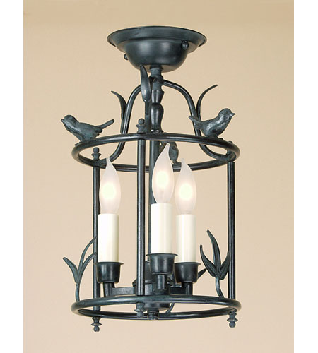 JVI Designs Bird Cage 3 Light Semi-Flush Mount in Verde 924-25 photo