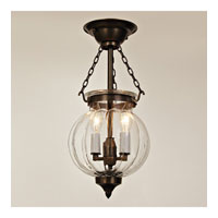 JVI Designs Melon Jar 2 Light Semi Flush Lantern in Oil Rubbed Bronze 1002-08