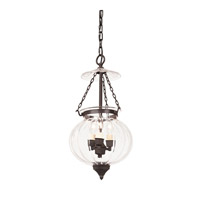 Melon Jar 3 Light 10 inch Oil Rubbed Bronze Hanging Bell Pendant Ceiling Light