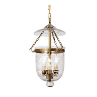 JVI Designs Bell Jar 3 Light Small Hanging Bell Pendant in Rubbed Brass with Flower Glass 1007-10