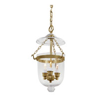 Bell Jar 3 Light 9 inch Rubbed Brass Hanging Bell Pendant Ceiling Light