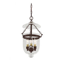 JVI Designs Bell Jar 3 Light Small Hanging Bell Pendant in Oil Rubbed Bronze with Star Glass 1009-08