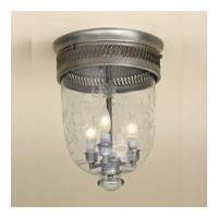 JVI Designs Bell Jar 3 Light Semi Flush Lantern in Pewter 1010-17