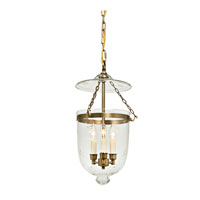 JVI Designs Bell Jar 3 Light Hanging Bell Pendant in Rubbed Brass 1012-10