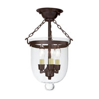 JVI Designs Bell Jar 3 Light Semi Flush Lantern in Oil Rubbed Bronze 1015-08