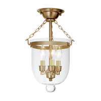 JVI Designs Bell Jar 3 Light Semi Flush Lantern in Rubbed Brass 1015-10