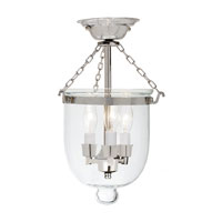 JVI Designs Bell Jar 3 Light Semi Flush Lantern in Polished Nickel 1015-15