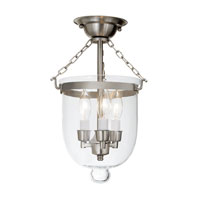 JVI Designs Bell Jar 3 Light Small Semi-Flush Mount in Pewter with Clear Glass 1015-17