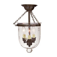 JVI Designs Bell Jar 3 Light Small Semi-Flush Mount in Oil Rubbed Bronze with Star Glass 1016-08